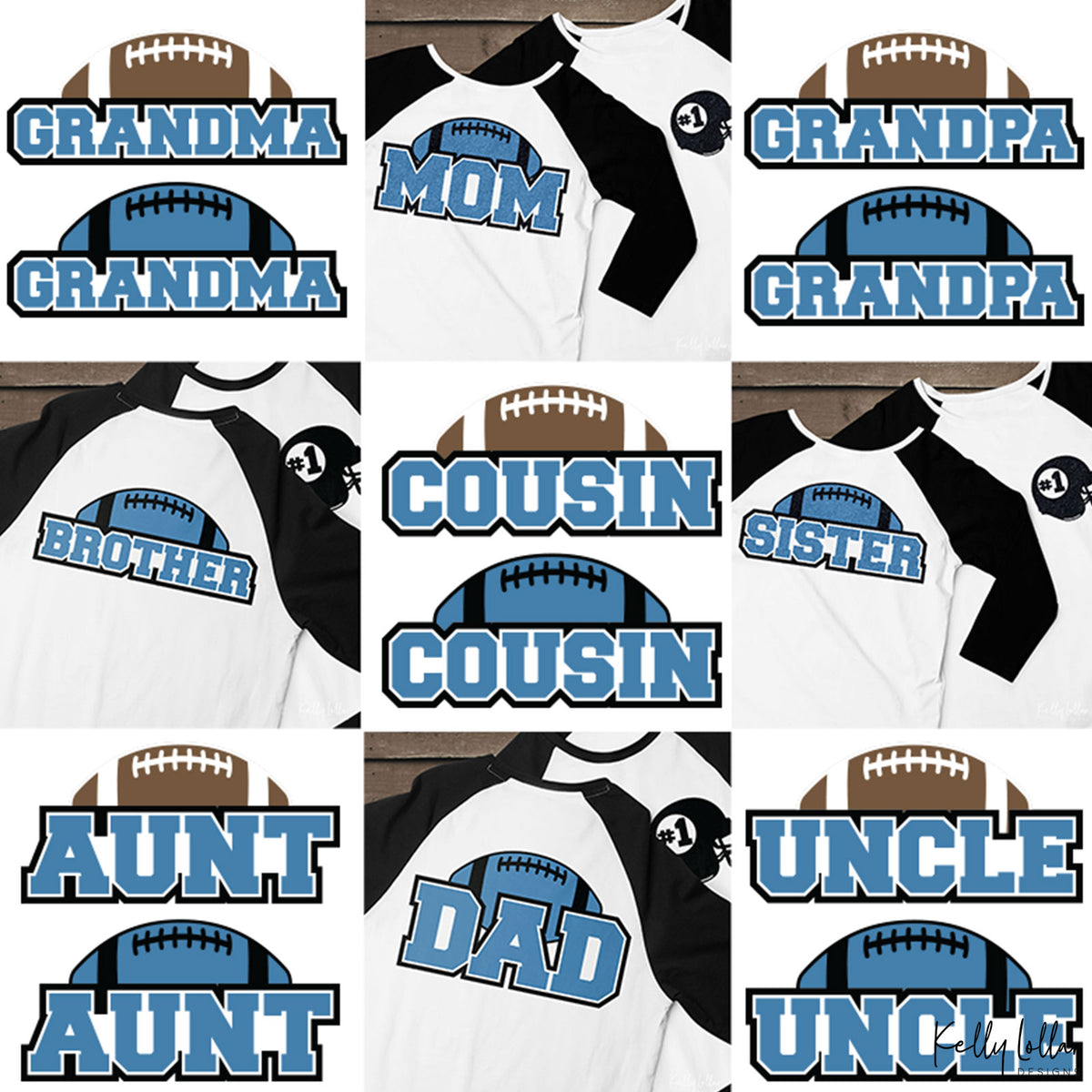 Family Football Bundle | Family Member Names with Matching Football Helmet Monogram Frame | SVG DXF PNG Cut Files