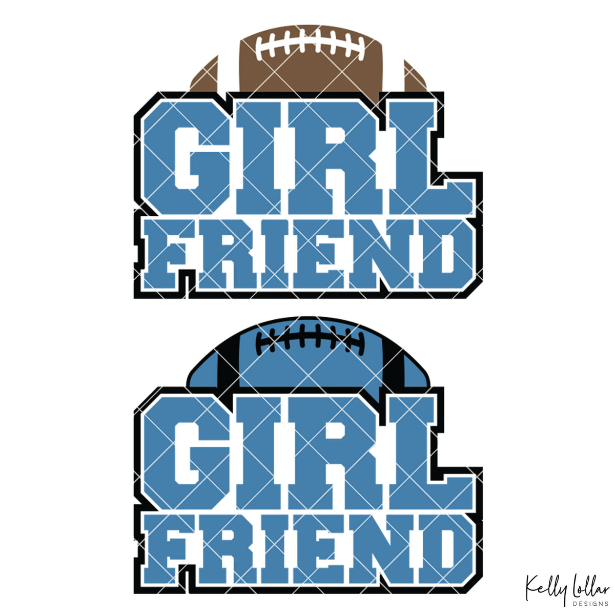 Football Girlfriend | 2 and 4 Colors Options Plus Bonus Football Helmet Monogram | SVG DXF PNG Cut Files