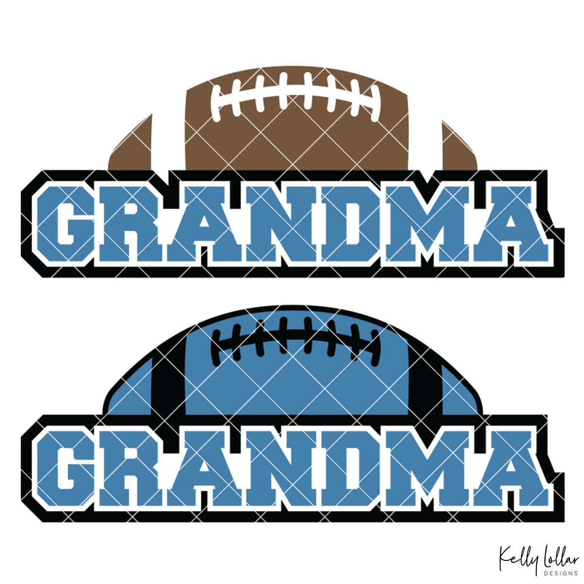 Football Grandma | 2 and 4 Colors Options Plus Bonus Football Helmet Monogram | SVG DXF PNG Cut Files