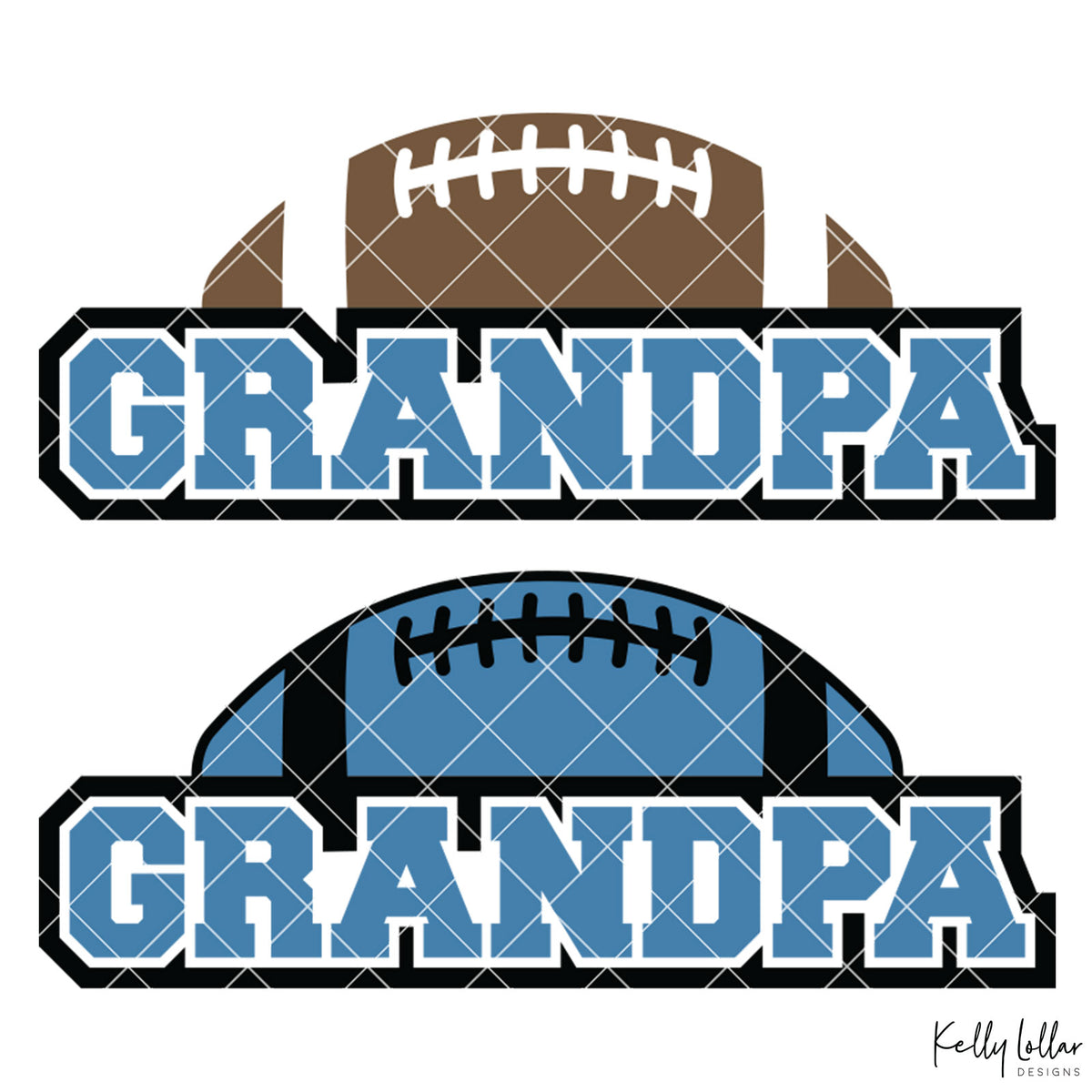 Football Grandpa | 2 and 4 Colors Options Plus Bonus Football Helmet Monogram | SVG DXF PNG Cut Files