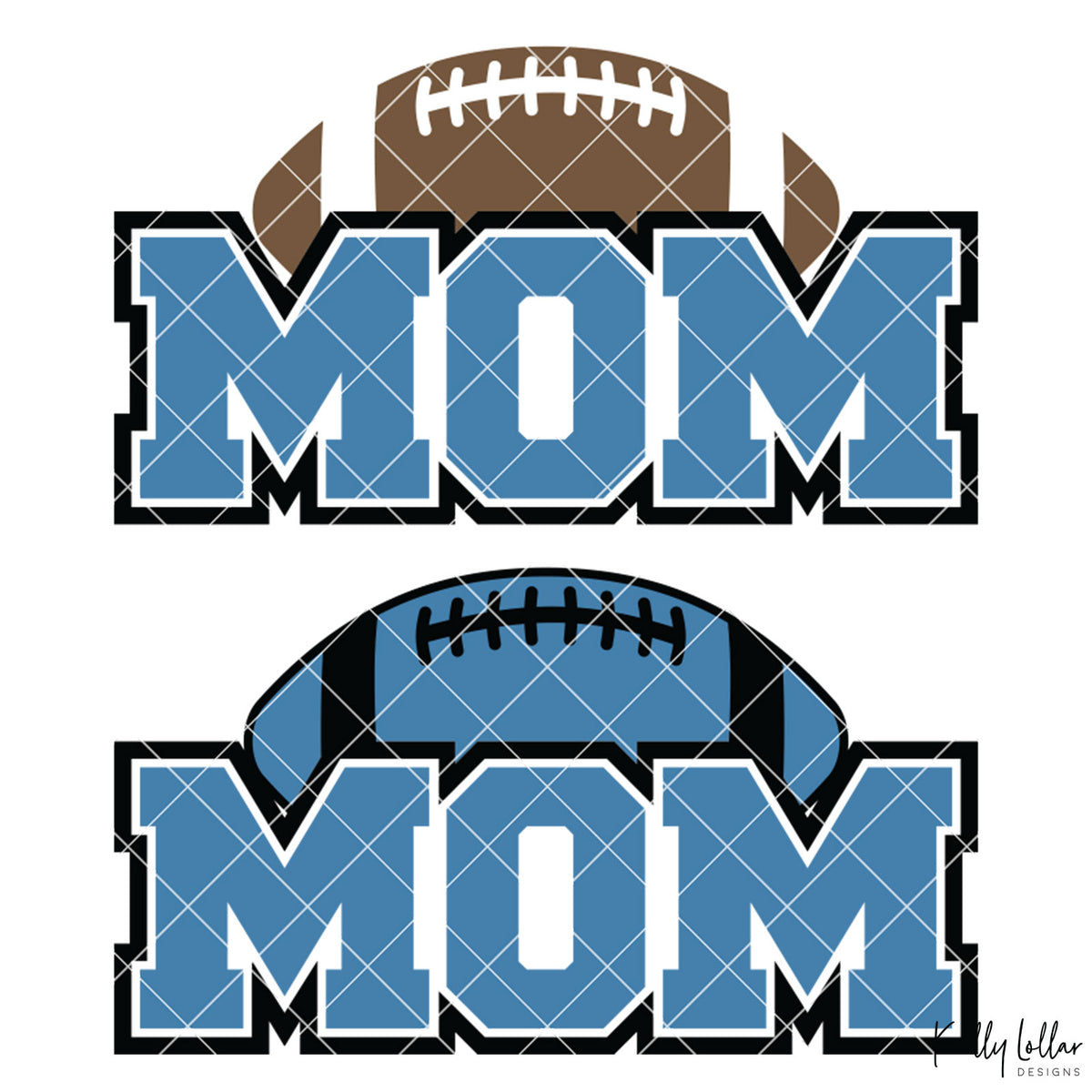 Football Mom | 2 and 4 Colors Options Plus Bonus Football Helmet Monogram | SVG DXF PNG Cut Files