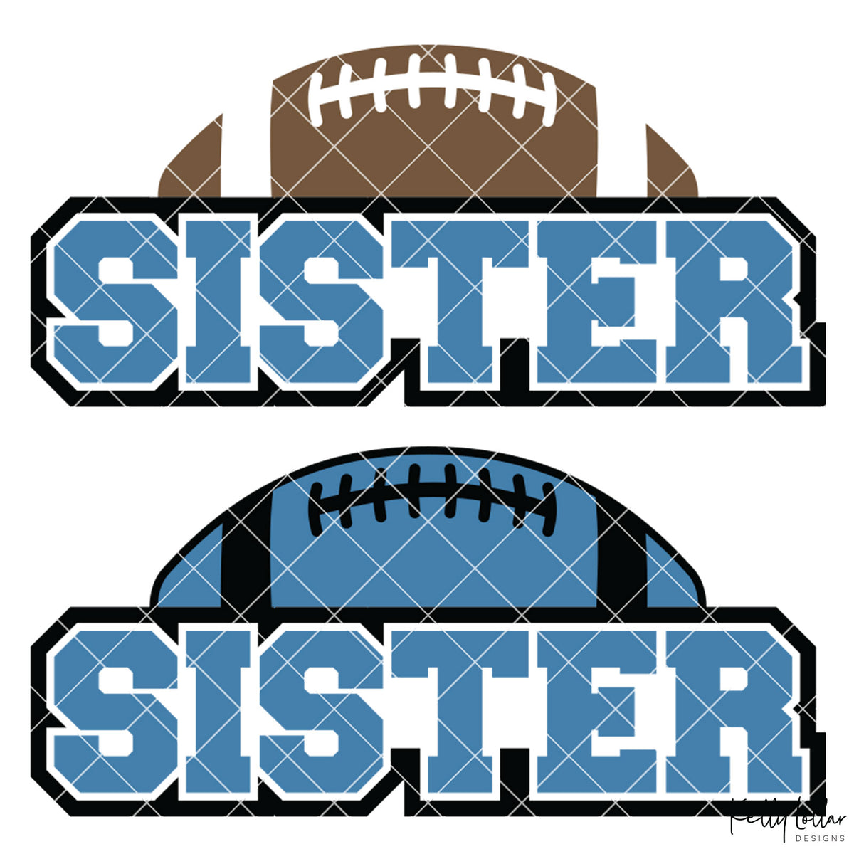Football Sister | 2 and 4 Colors Options Plus Bonus Football Helmet Monogram | SVG DXF PNG Cut Files