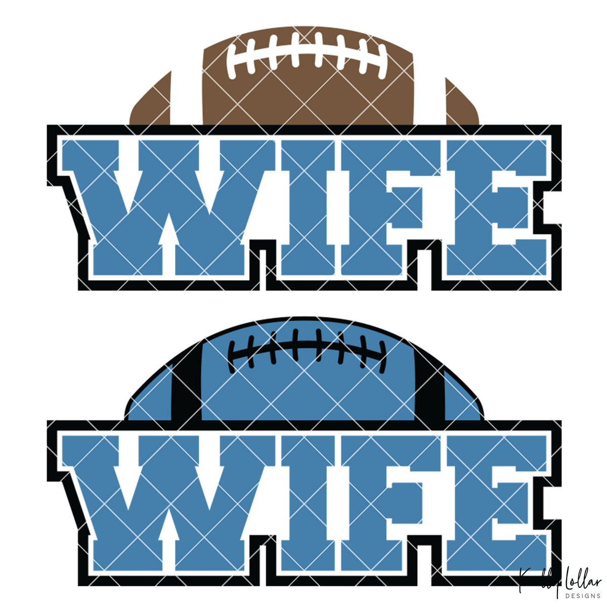 Football Wife | 2 and 4 Colors Options Plus Bonus Football Helmet Monogram | SVG DXF PNG Cut Files