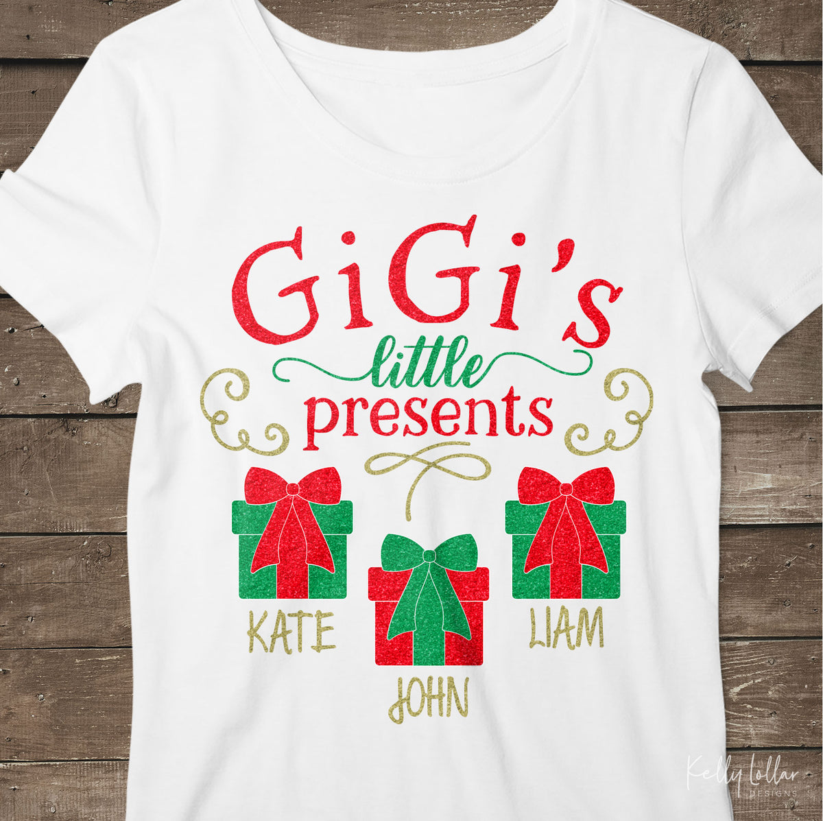 GiGi's Little Presents| Christmas Shirt Design for GiGi with Gift Boxes for Children's Names | SVG DXF PNG Cut Files