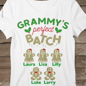 Grammy's Perfect Batch | Christmas Shirt Design for Grammy's with Gingerbread Cookies for Children's Names | SVG DXF PNG Cut Files