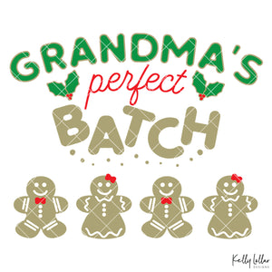 Grandma's Perfect Batch| Christmas Shirt Design for Grandma with Gingerbread Cookies for Children's Names | SVG DXF PNG Cut Files