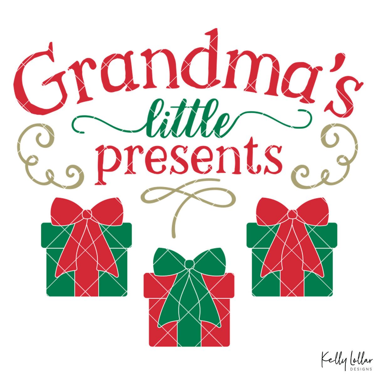 Grandma's Little Presents| Christmas Shirt Design for Grandma with Gift Boxes for Children's Names | SVG DXF PNG Cut Files