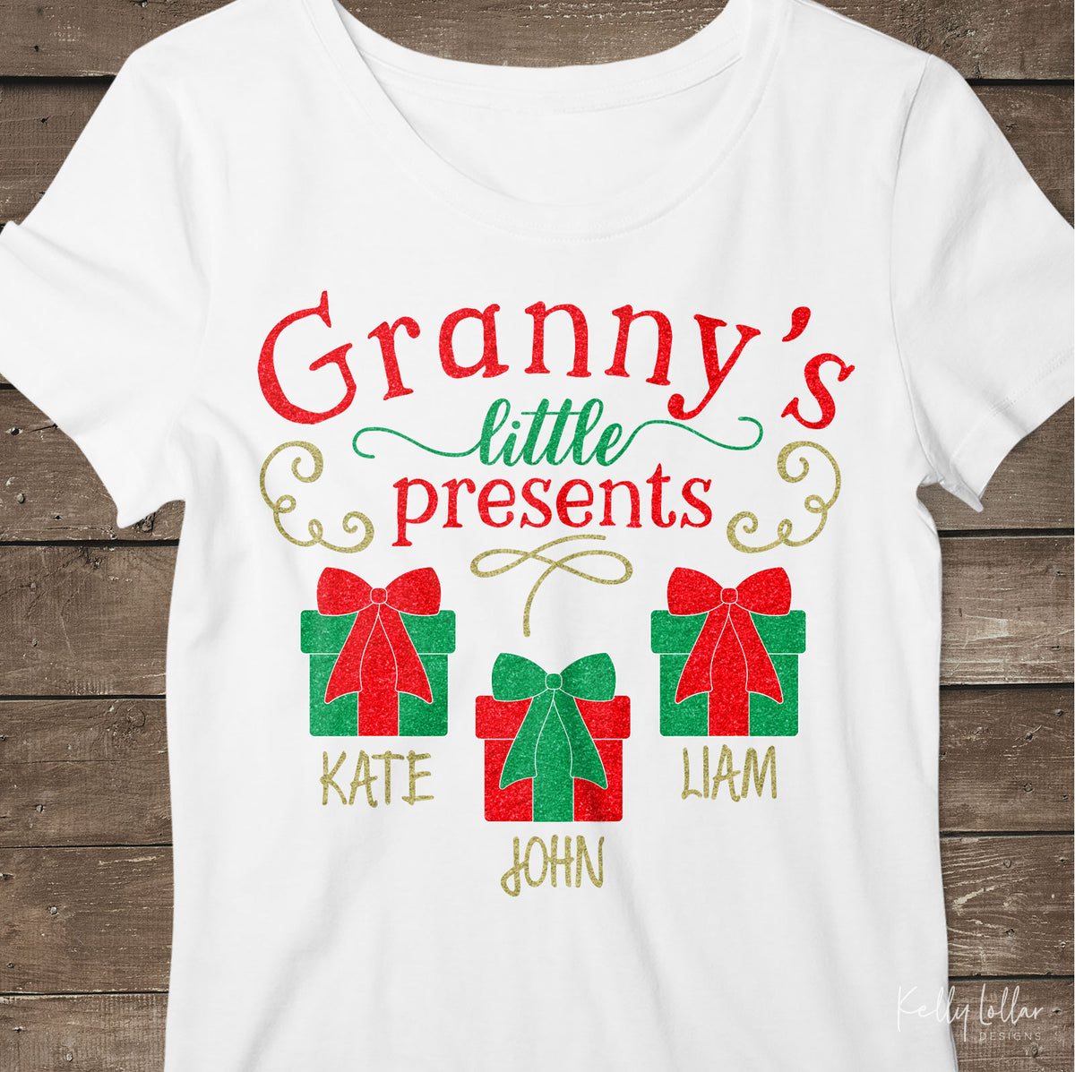 Granny's Little Presents| Christmas Shirt Design for Granny with Gift Boxes for Children's Names | SVG DXF PNG Cut Files