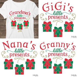 Little Presents Bundle | Christmas Shirt Design for Grandma, Nana, Granny and GiGi with Gift Boxes for Children's Names | SVG DXF PNG Cut Files
