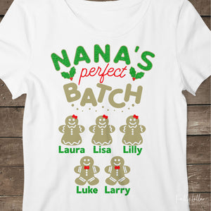 Nana's Perfect Batch | Christmas Shirt Design for Nana with Gingerbread Cookies for Children's Names | SVG DXF PNG Cut Files