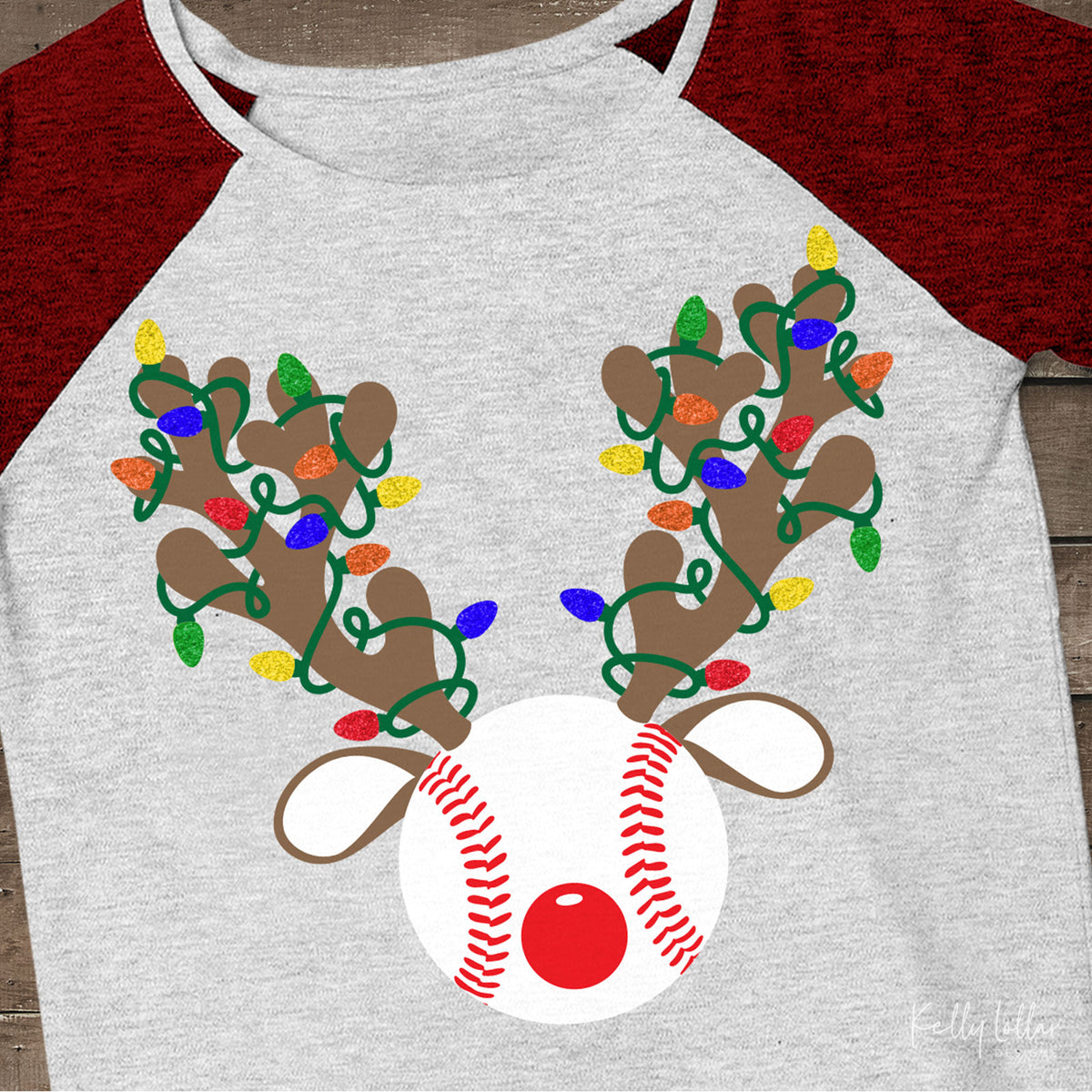Reindeer Baseball | Christmas Light Wrapped Reindeer Antlers and Ears on a Baseball or Softball for Holiday Shirts and Decor | SVG DXF PNG Cut Files