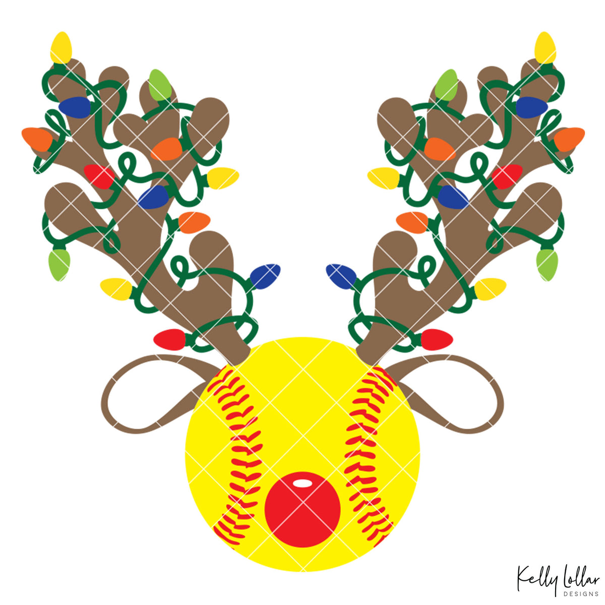Reindeer Softball | Christmas Light Wrapped Reindeer Antlers and Ears on a Baseball or Softball for Holiday Shirts and Decor | SVG DXF PNG Cut Files