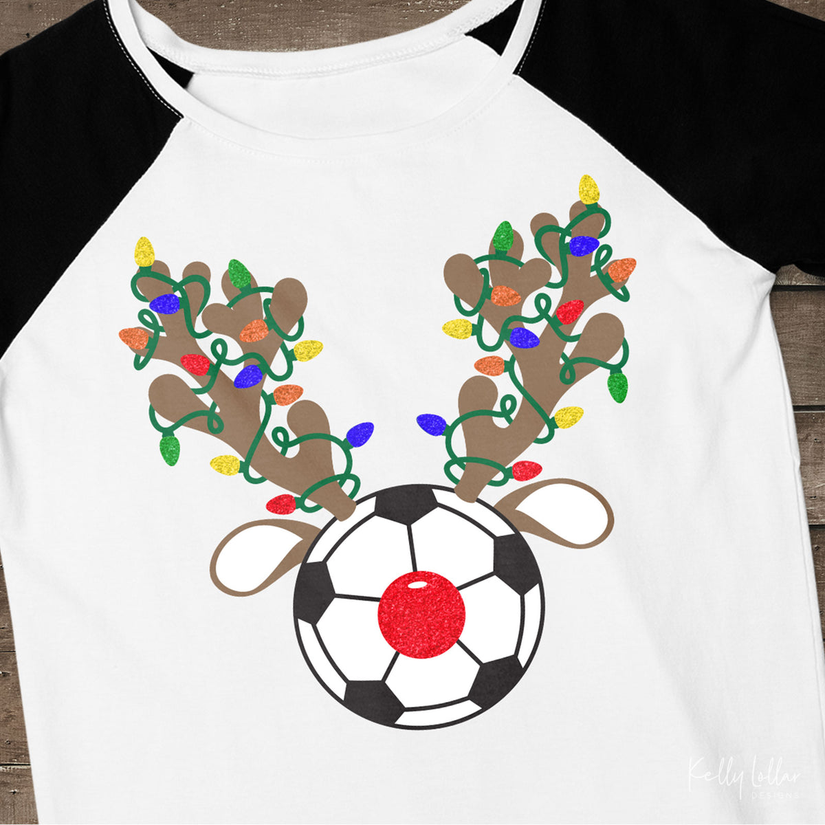 Christmas Light Wrapped Reindeer Antlers and Ears on a Soccer Ball for Holiday Shirts and Decor | SVG DXF PNG Cut Files