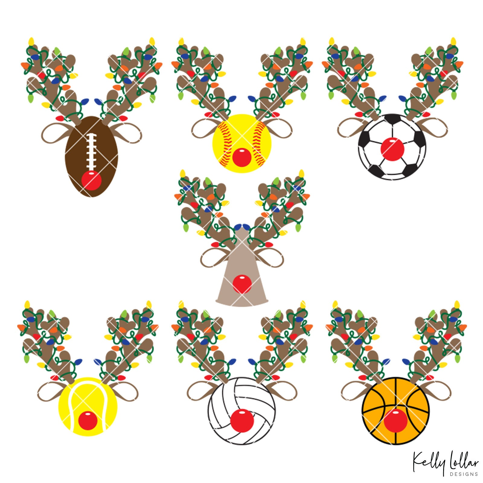 Reindeer Sports Bundle | Christmas Light Wrapped Reindeer Antlers and Ears for Baseball, Softball, Basketball, Cheer, Football, Soccer, Tennis and Volleyball Holiday Shirts | SVG DXF PNG Cut Files