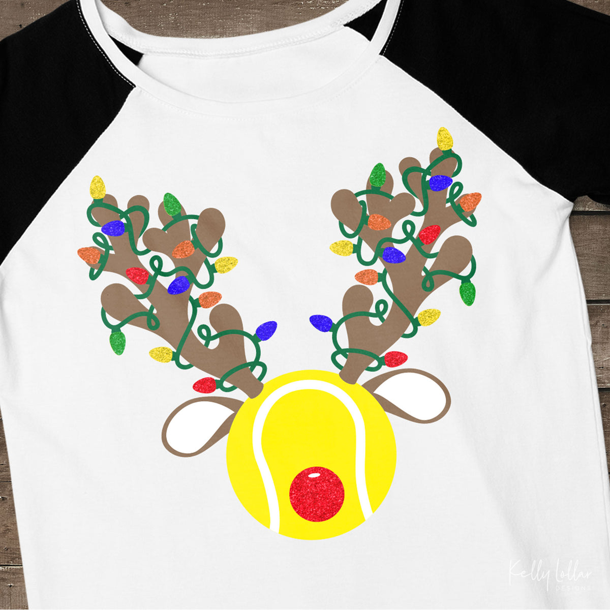 Christmas Light Wrapped Reindeer Antlers and Ears on a Tennis Ball for Holiday Shirts and Decor | SVG DXF PNG Cut Files
