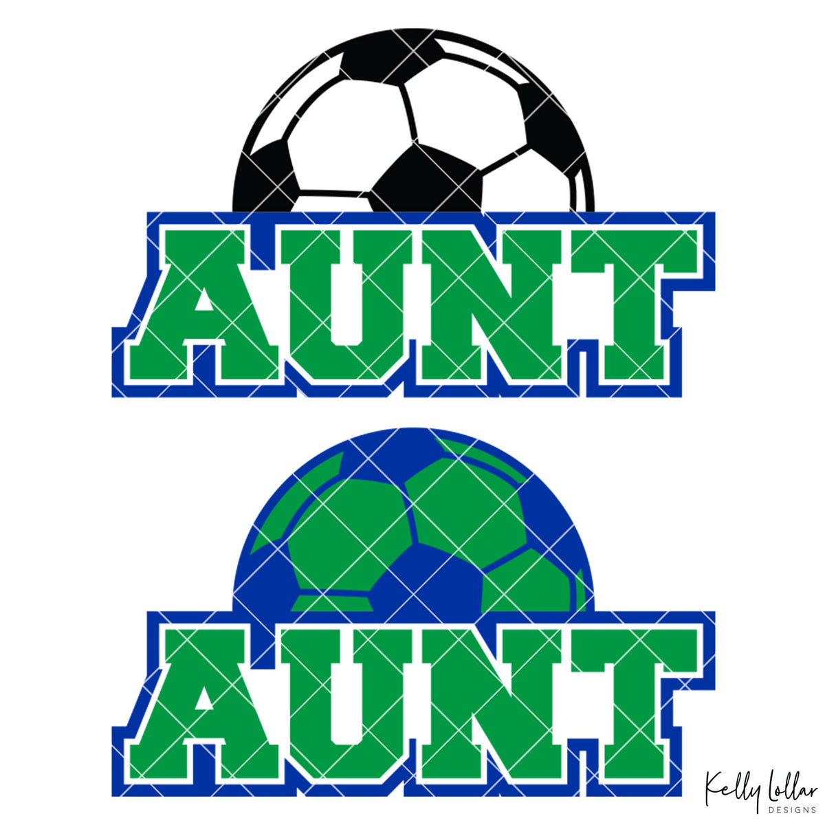 Soccer Aunt |  2 and 4 Colors Options Plus Bonus Soccer Ball Monogram | SVG DXF PNG Cut Files