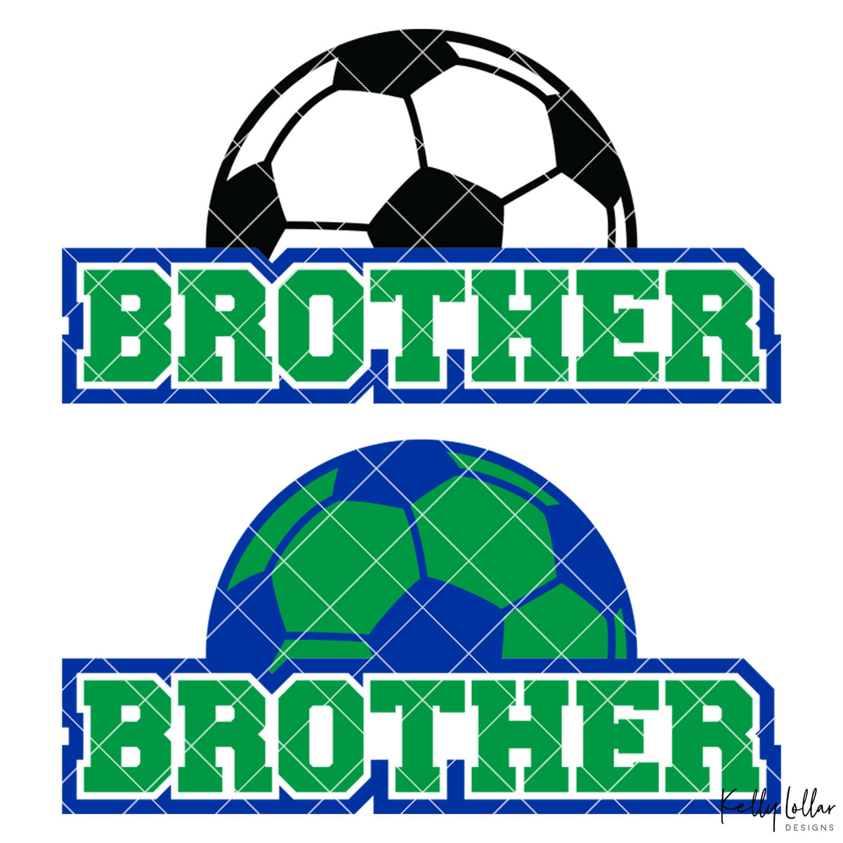 Soccer Brother |  2 and 4 Colors Options Plus Bonus Soccer Ball Monogram | SVG DXF PNG Cut Files