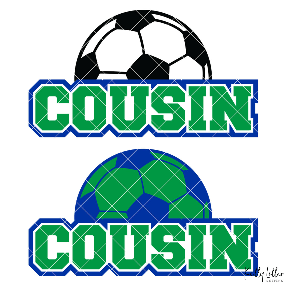 Soccer Cousin |  2 and 4 Colors Options Plus Bonus Soccer Ball Monogram | SVG DXF PNG Cut Files