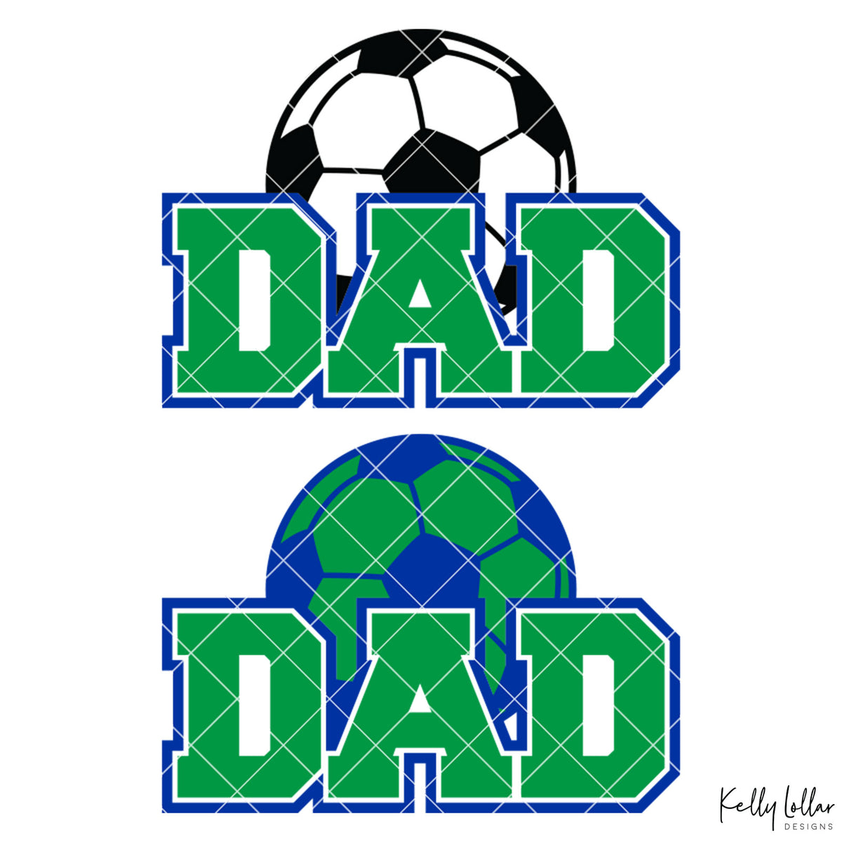 Soccer Dad |  2 and 4 Colors Options Plus Bonus Soccer Ball Monogram | SVG DXF PNG Cut Files