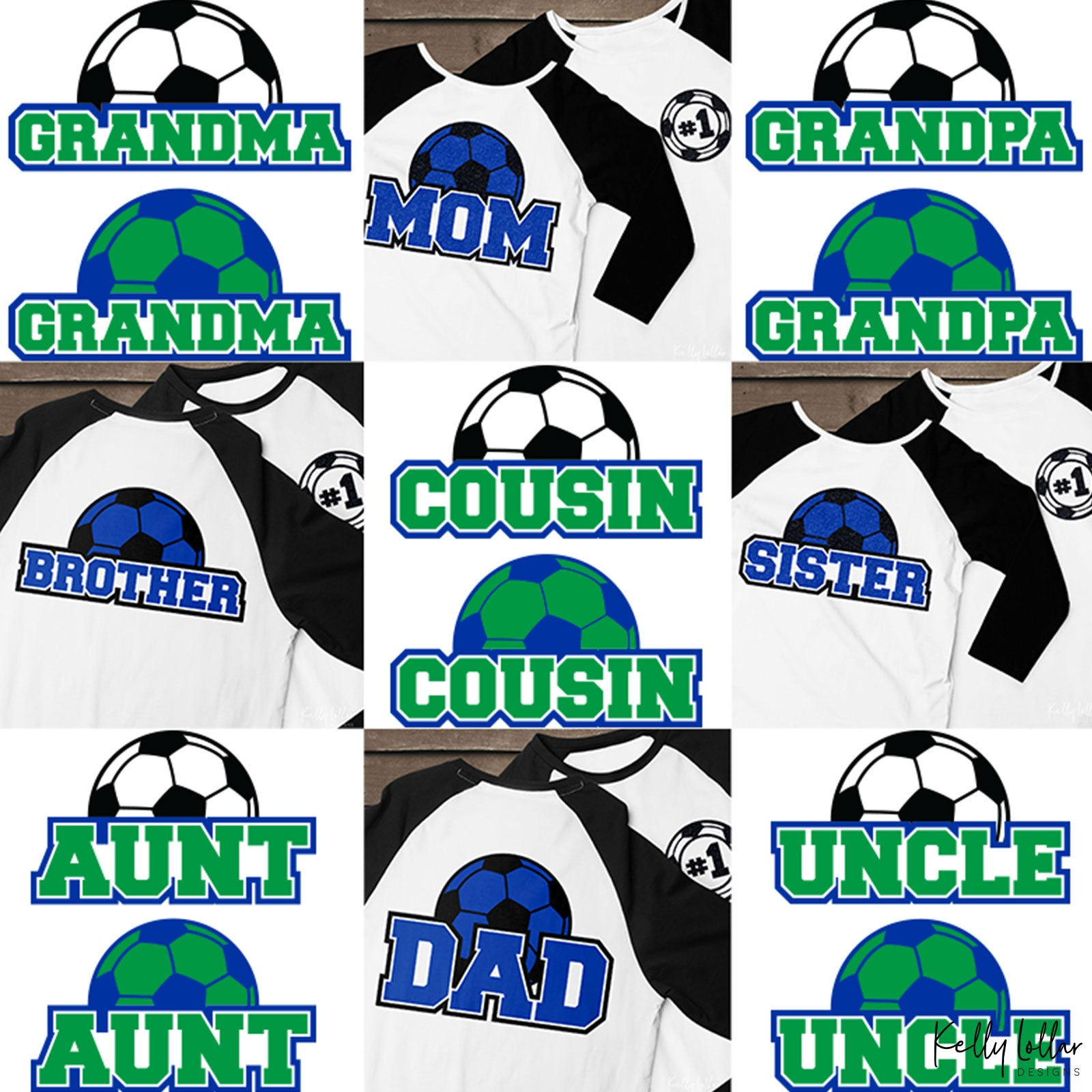 Family Soccer Bundle | Family Member Names with Matching Soccer Ball Monogram Frame | SVG DXF PNG Cut Files