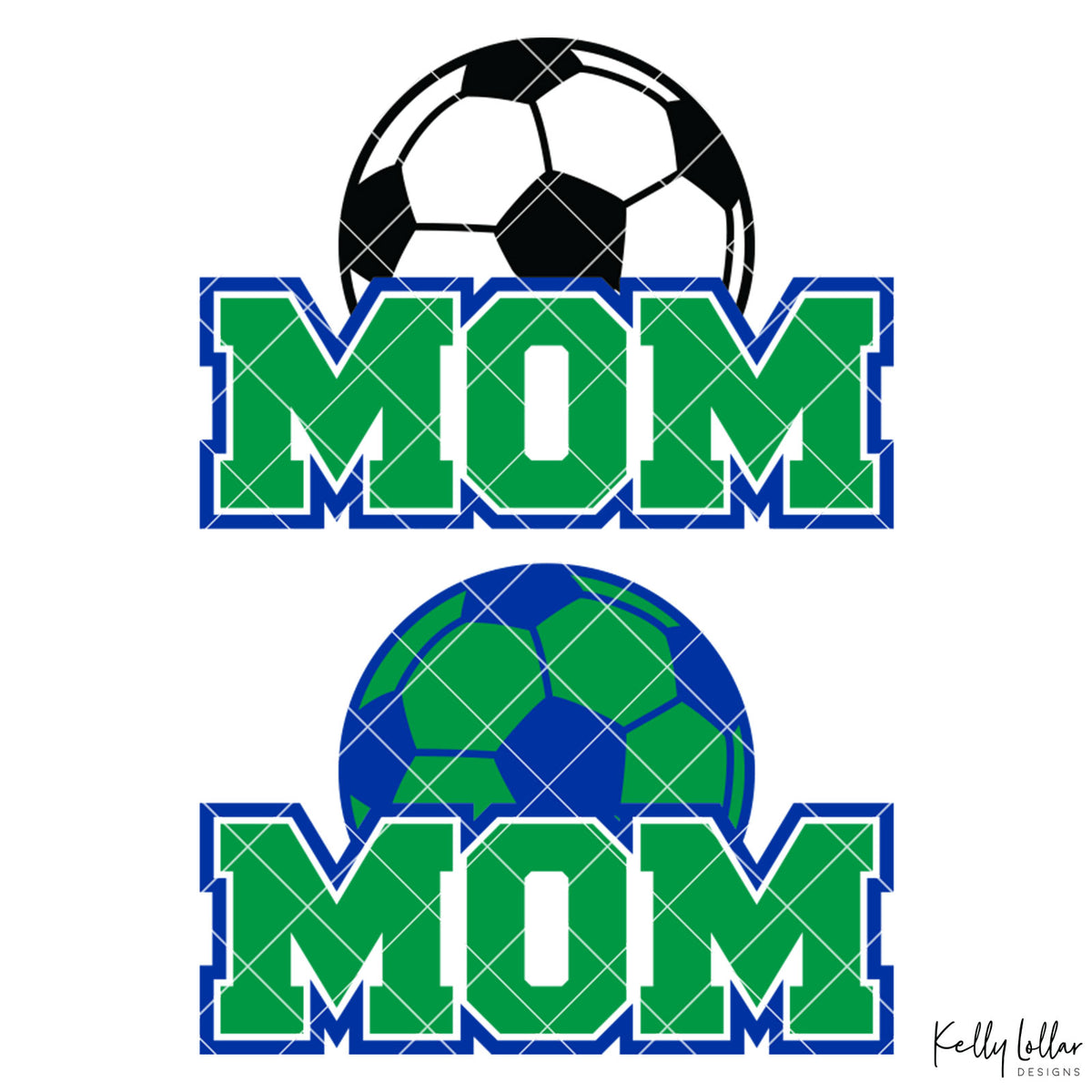 Soccer Mom |  2 and 4 Colors Options Plus Bonus Soccer Ball Monogram | SVG DXF PNG Cut Files