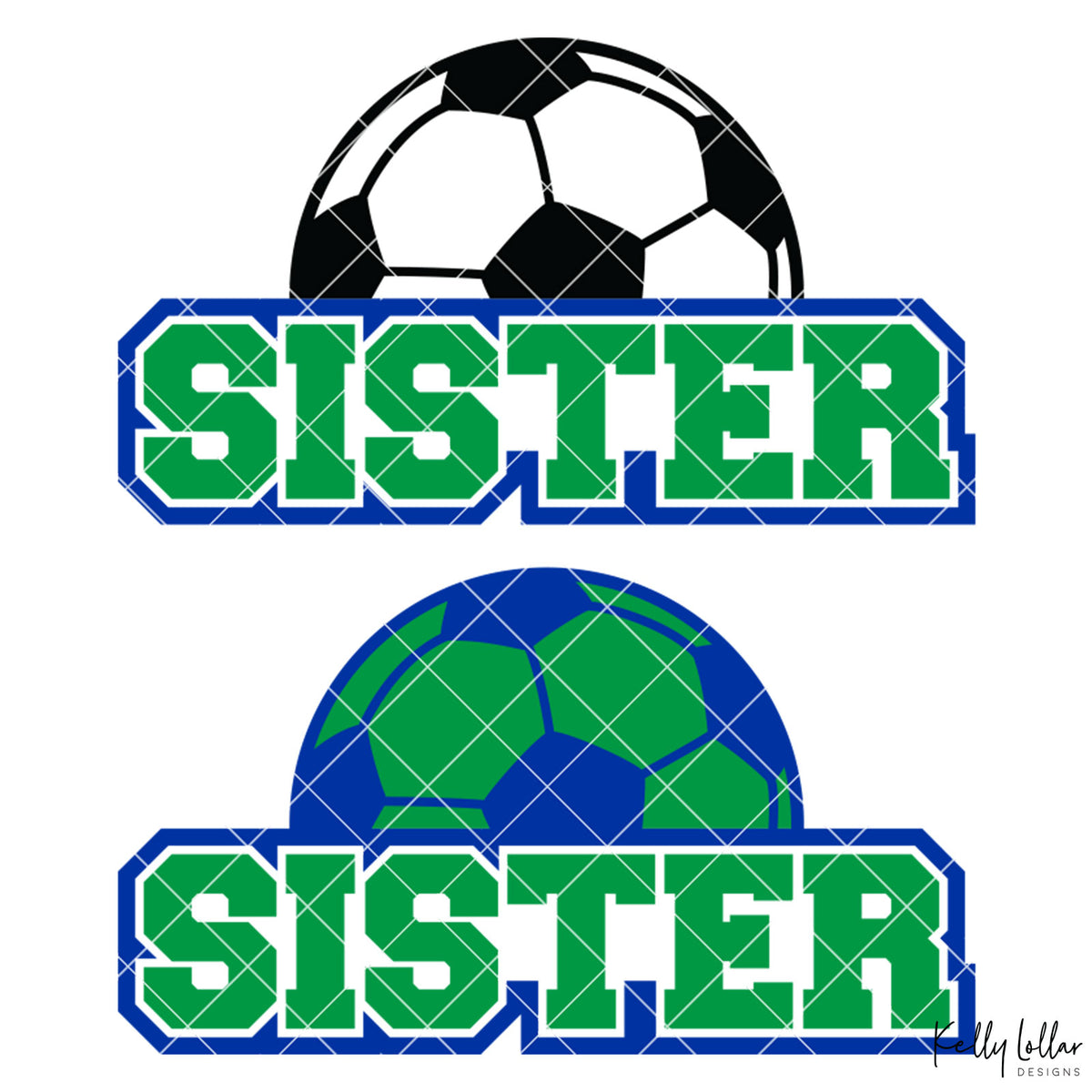Soccer Sister |  2 and 4 Colors Options Plus Bonus Soccer Ball Monogram | SVG DXF PNG Cut Files