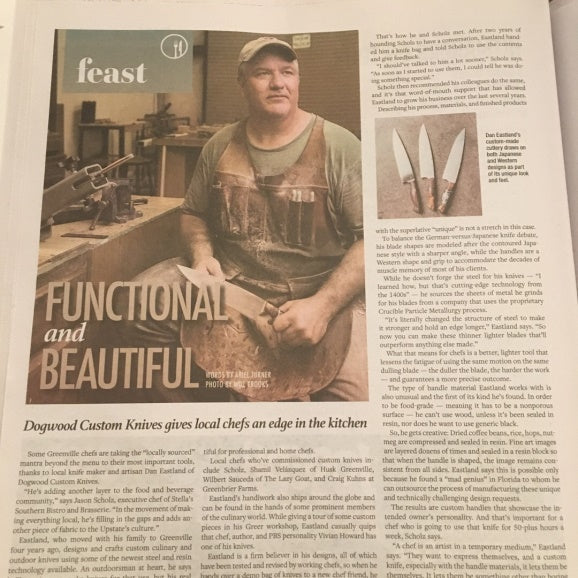 Dogwood Knives featured in Greenville Journal - Giving Chefs an Edge in the Kitchen