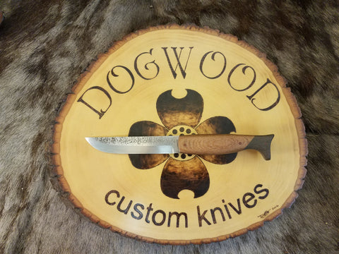 Houndstooth with Wood Handle and Black Micarta Cap