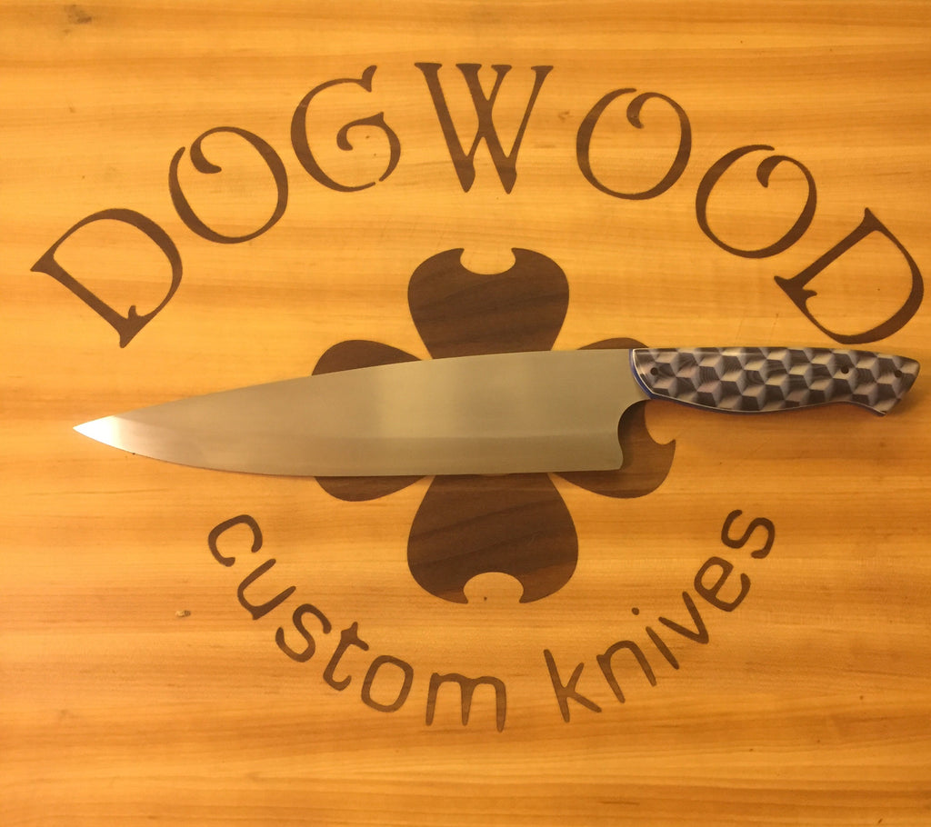 "Big Papi (10"" Chef's Knife) with Cravex handle and Blue and white liners"