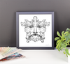 Green Man - Black on White, Framed Print