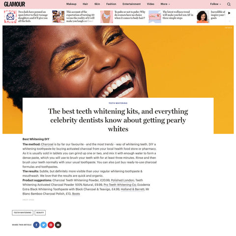 Glamour Magazine - Activated Charcoal Teeth Whitening
