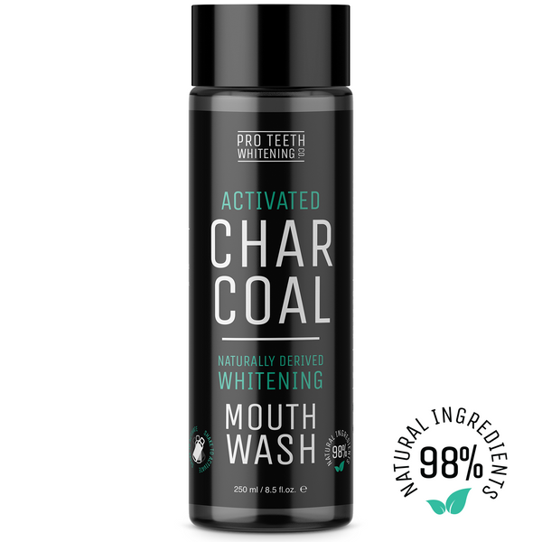 Activated Charcoal Natural Teeth Whitening Mouthwash Peppermint Flavour 98% Naturally Derived
