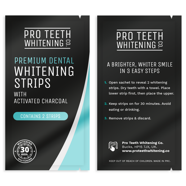 Premium Dental Whitening Strips with Activated Charcoal 30 Minute Teeth Whitening