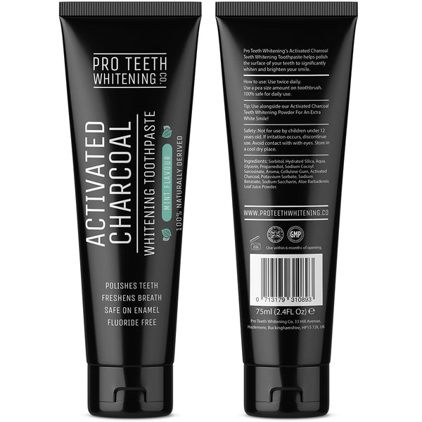 Pro Teeth Whitening Co - Activated Charcoal Whitening Toothpaste Mint Flavour, 100% Naturally Derived & Fluoride Free