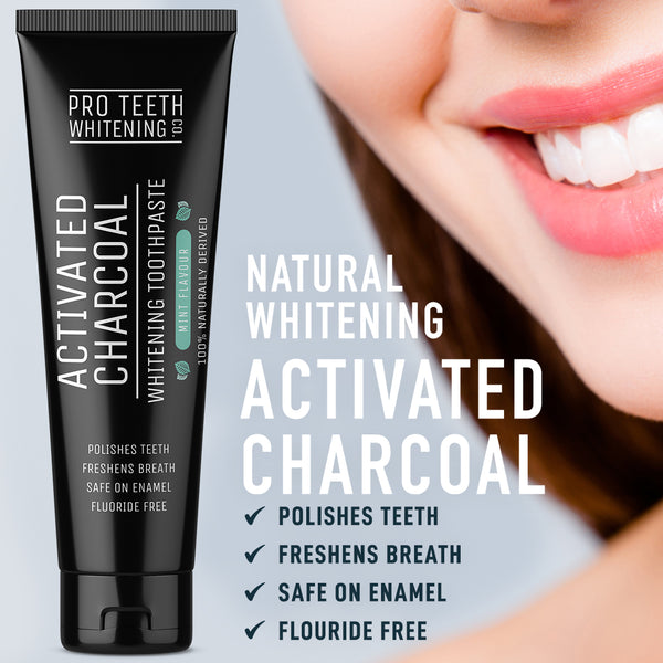 Activated Charcoal Whitening Toothpaste Mint Flavour, 100% Naturally Derived & Fluoride Free