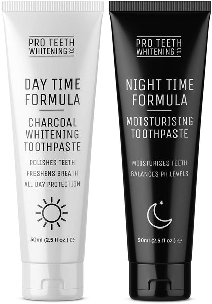 Activated Charcoal Day & Night Toothpaste (60 Days Supply) - Natural Teeth Whitening & Moisturising