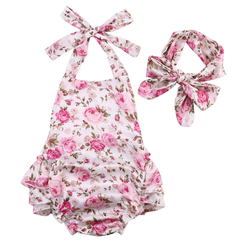 Rose Pattern Silky Onesie With Headband