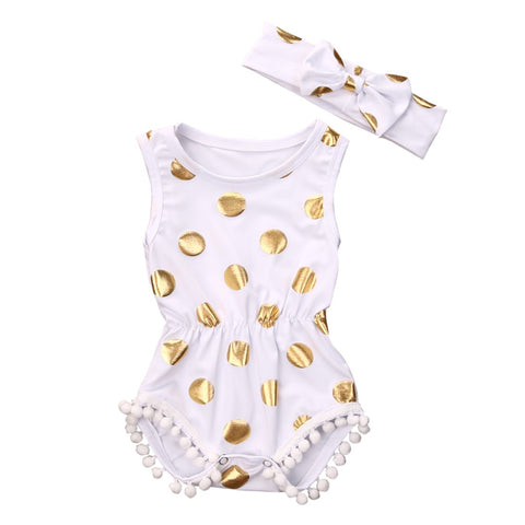 Polka Dot Sleeveless Romper + Headband Set - MunchkinGear.com