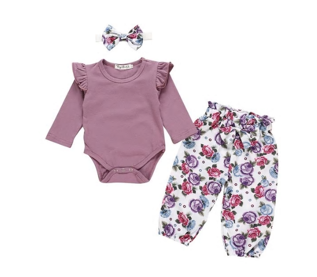 Floral Dark Purple Summer 3 Pc Set - MunchkinGear.com