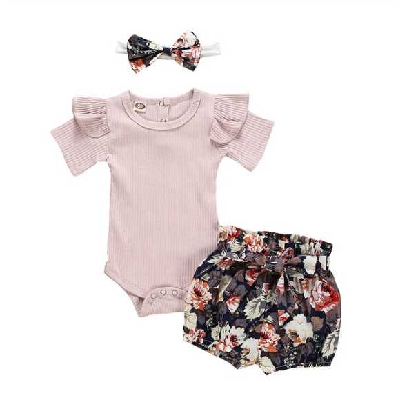 Floral Pinky Summer 3 Pc Set - MunchkinGear.com
