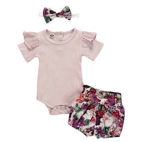 Floral Purple Summer 3 Pc Set - MunchkinGear.com