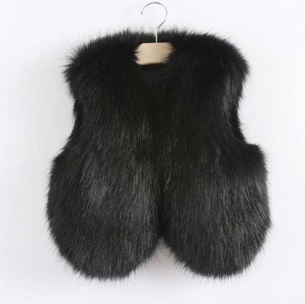 Black Faux Fur Vest Thick & Warm - MunchkinGear.com