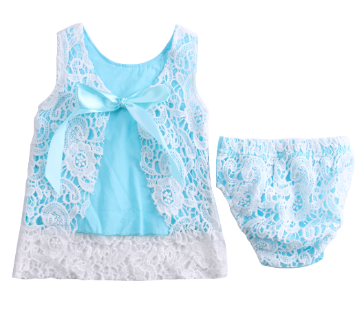 Blue Lace Dress 2 Pc Set - MunchkinGear.com
