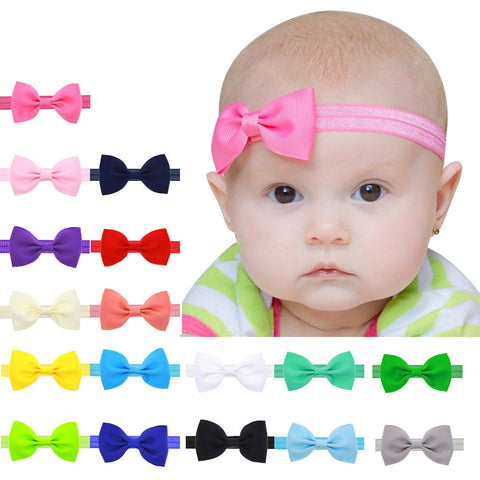 Colorful Mini Bowknot Elastic Headbands 17 Piece Set - MunchkinGear.com