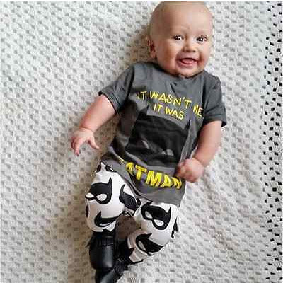 Boys Outfit Set Batman Top + Pants - MunchkinGear.com