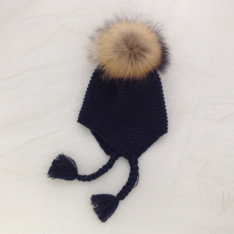 Bomber Baby Warm Knitted Hats With Real Raccoon Fur PomPom - MunchkinGear.com
