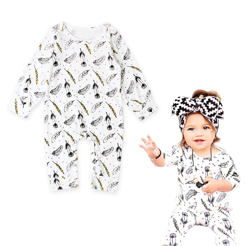 Feather Pattern Romper - MunchkinGear.com