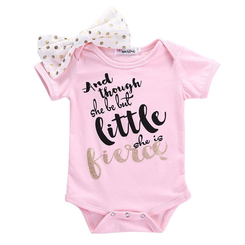 """And Though She Be But Little She Is Fierce"" Pink Onesie - MunchkinGear.com"