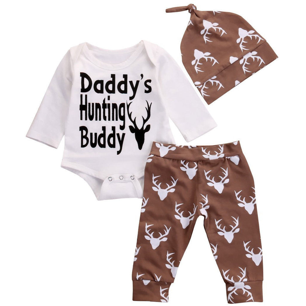 Daddy's Hunting Buddy 3PCS Set Hat+Onesie+Pants - MunchkinGear.com