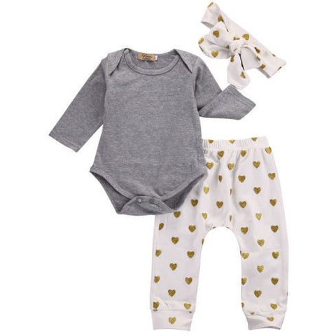 Gold Heart Pattern 3 PC Set - MunchkinGear.com
